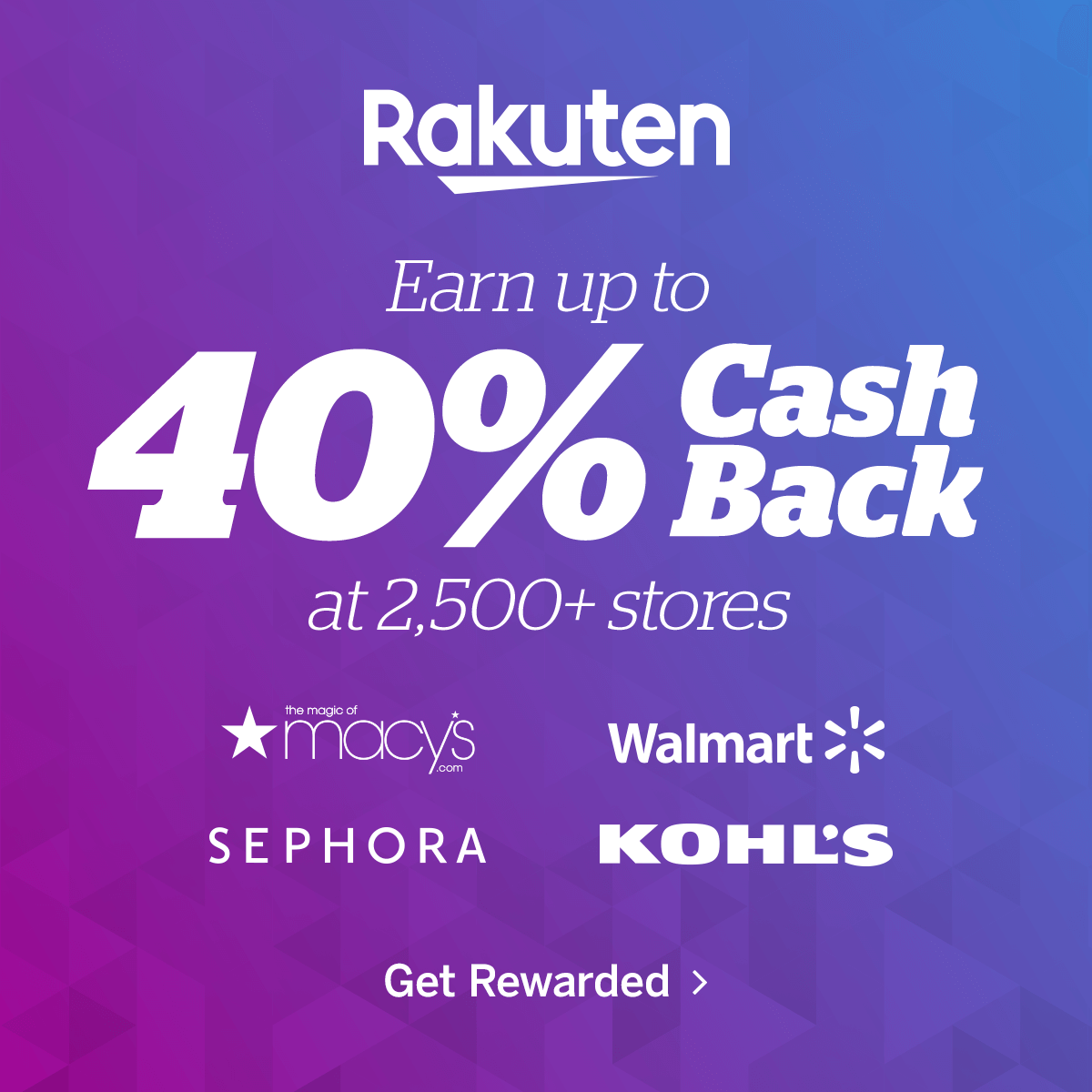 Earn up to 40% cash back at 2,500 stores